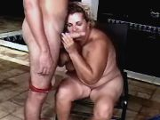 Old fatty greedily sucks fresh cock
