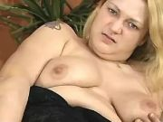 Mature BBW masturbates and throats