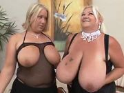Chubby mom with huge boobs seduces busty cute girl