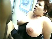 Plump busty housewife drinking cum
