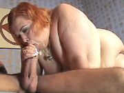 Steamy BBW deep throats hard cock