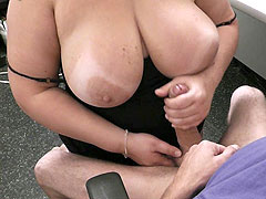 Boss fucks the pussy and tits of a silly young BBW promising her a bonus