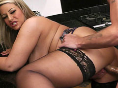 Hot BBW blonde in sexy-looking nylon makes a horny husband cheat on his wife