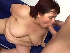 Obese mature sucks cock and fucked