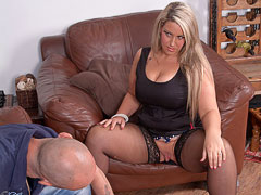 Hubby does a hot blonde BBW in black stockings while wife is away