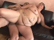Flabby whore jumps on strong dick