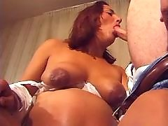 Depraved pregnant wife sucking big cock on sofa