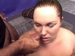 Lewd chubby whore gets cum in mouth